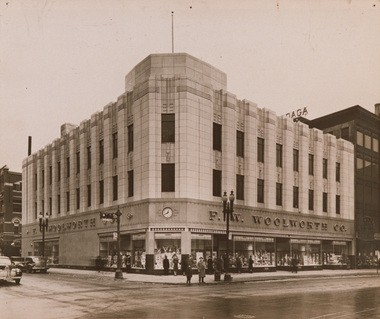 The downtown F.W. Woolworth store, in its heyday: There is talk of restoring the historic facade. The clock above the main door still exists, beneath a metal cover.