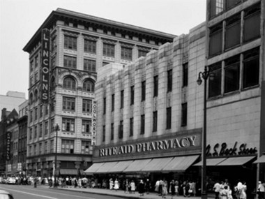 How Jeff Engler, a graphic artist, envisions the Rite Aid facade, using the historic F.W. Woolworth style.