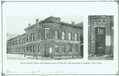 An old image of the historic Brennan industrial buildings; the Crouse-Hinds Co. was founded on the second floor.