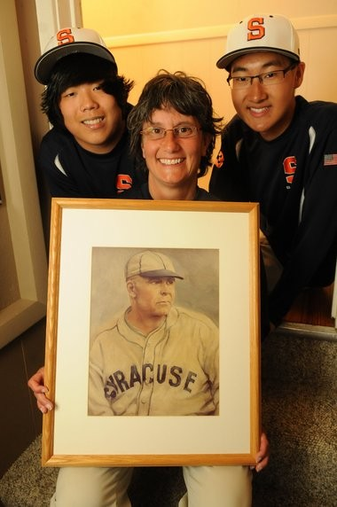 Kathee Dobe-Call, with her sons Jesse (left) and Josh: A family campaign to honor a Syracuse baseball legend, Lew Carr.