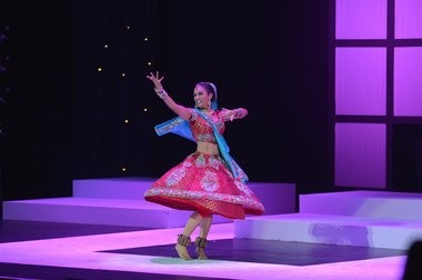 Nina Davuluri, the first Indian-American Miss New York, does a Bollywood-themed dance during the statewide competition in Staten Island.