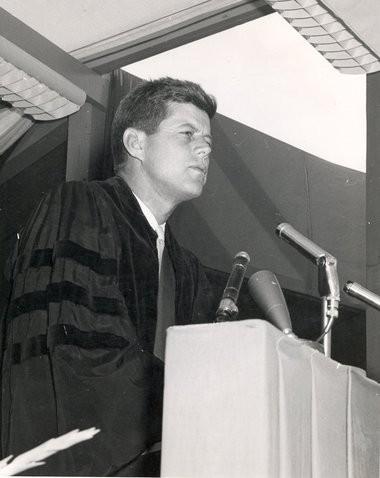 Then-Sen. John F. Kennedy, Syracuse University, 1957.