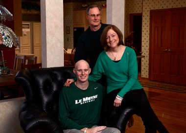 Le Moyne baseball standout Pat Wiese with his parents, Mike and Kathleen: During Pat's treatment for cancer, moved by an outpouring of community support.