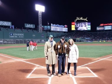 Pat Wiese with his parents, at home plate at Fenway Park, World Series 2013.