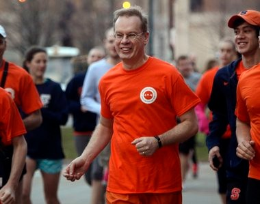 Kent Syverud: His inaugural day as Syracuse University chancellor began with a run with SU students.