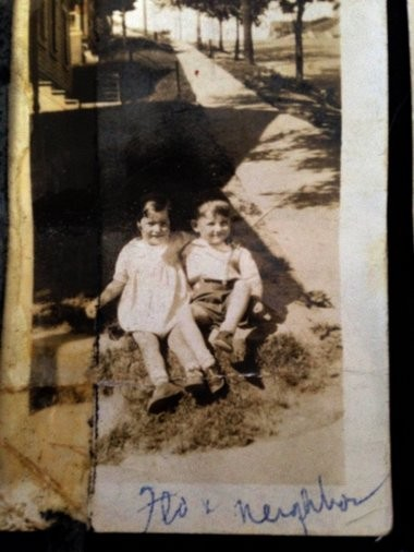 Startling Easter weekend discovery: Image of Florence Ciani Trovato, Eric Carle, apparently on Pond Street, 1932.