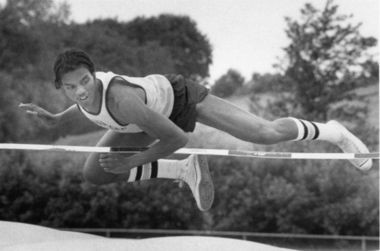 Wallie Howard Jr. high-jumping for Henninger High School, late 1970s.