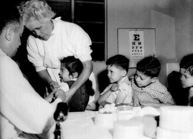 Sixty years ago this month, children in Syracuse - and across the nation - began receiving the Salk vaccine, to combat polio. These boys and girls were in Los Angeles.