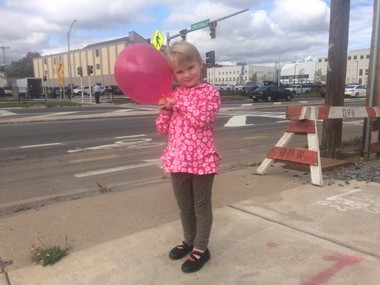 Amelia Destito, at the West Street crosswalk opening: Her parents say they learned so how much of a barrier the street could be when they tried to cross it, with their children.
