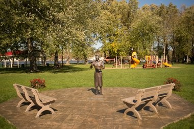 A view of the Lucille Ball Memorial Park and the much-debated Lucy statue in Celoron, N.Y.