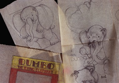 """Sketches from the 1930s by local artist Helen Durney, now kept at the Syracuse University Archives: Durney created the illustrations for the original """"Dumbo"""" children's book. For Dick Case column."""
