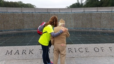 World War II veteran Don Fida of Syracuse with his great-niece, Melanie Piper Costello, at the field of stars that symbolize American war dead at the World War II national memorial in Washington D.C. Costello was Fida's guardian on Honor Flight.