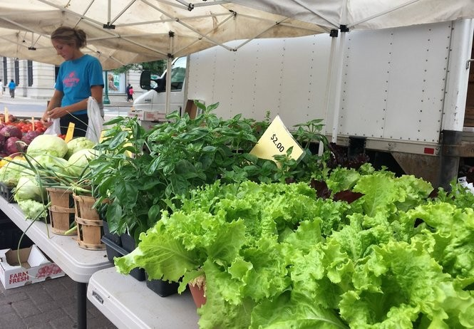 Daratt Farms from Cato occupies the prized large corner spot along Salina Street at the Downtown Farmers Market.