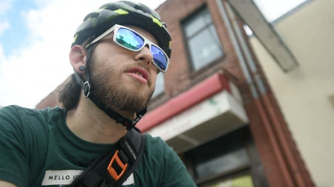 Neil Hueber biked from Westcott Street to City Hall in seven minutes. (Scott Trimble)