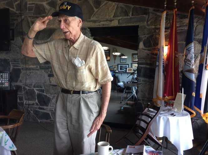 """Sanford Sternlicht, a retired Naval officer, sings the National Anthem at Clear Path for Veterans. Sternlicht, 85, comes nearly every Wednesday. """"I've made a lot of friends here,"""" he says. Teri Weaver 