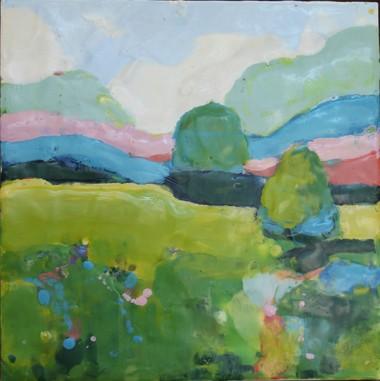 Field, Sally Hootnick, Encaustic, 2018.