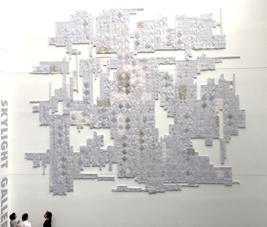 """This piece by Wonju Seo, """"White Wonderland,"""" is part of the permanent collection at Stony Brook University's Charles B. Wang Center."""