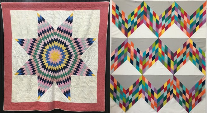 The Lone Star quilt on the left, made by Louvinia Clarkson Cleckley, was on Sarah Bond's bed growing up. Bond updated the Lone Star pattern in the piece on the right. Her updated take on the Lone Star pattern is the topic of one of Bond's classes at Quilting by the Lake 2019.