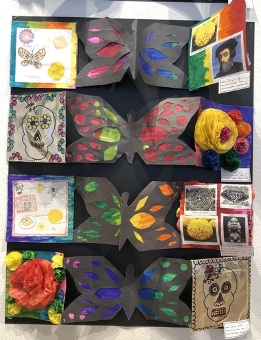 Auburn Junior High School art teachers Kristy Flanigan and Kasha Fletcher worked with social studies and Spanish teachers to have students create these Dia de los Muertos, or Day of the Dead, books. The students were studying Aztec history and culture at the time.