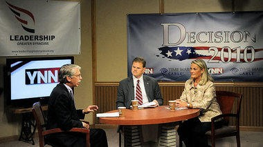 Democrat Dan Maffei (center) and Republican Ann Marie Buerkle held debates at YNN Studios at Time Warner Cable in East Syracuse in 2010. YNN's Bill Carey was the moderator.