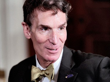 """Bill Nye, host of television's """"Bill Nye the Science Guy,"""" wears a bow tie to the White House in this Oct. 18, 2010 file photo. Nye's publicity team requested a Geraldo De-Souza bow tie earlier this year."""