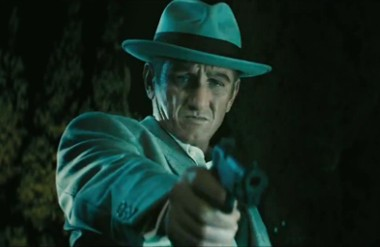 """Sean Penn points a gun in the trailer for the Warner Bros. movie """"Gangster Squad."""""""