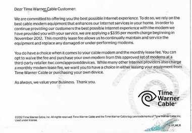 Time Warner Cable told customers of its new, $3.95 monthly modem lease fee with this postcard.