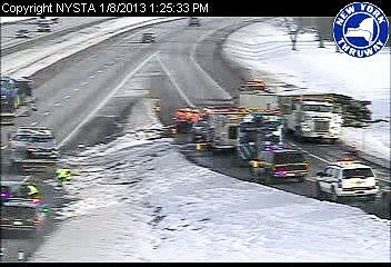 Tractor-trailer-car accident on Thruway on-ramp from Carrier Circle