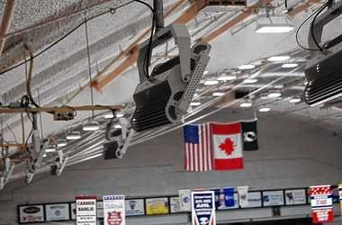 Ephesus Lighting Inc.'s LED fixtures hang from the ceiling of the Onondaga County War Memorial. A lighting outage during an AHL hockey game at the arena prompted county officials to replace the old metal halide lights in the War Memorial last year.