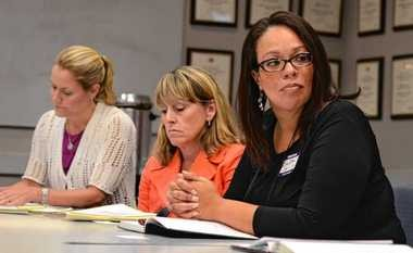 Syracuse schools Superintendent Sharon Contreras, right, at a Post-Standard editorial board meeting in August with Say Yes to Education President Mary Anne Schmitt-Carey, left. Between them is Ann Rooney, Onondaga County's deputy county executive for human services.