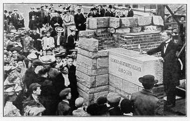 Congregants gather in 1906 to celebrate the laying of a cornerstone for South Presbyterian Church at the corner of Salina and Colvin streets in Syracuse.