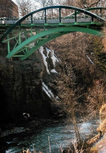 The Thurston Avenue Bridge, which crosses Fall Creek, in Ithaca. Two Cornell students fell to their deaths from this bridge in 2010.