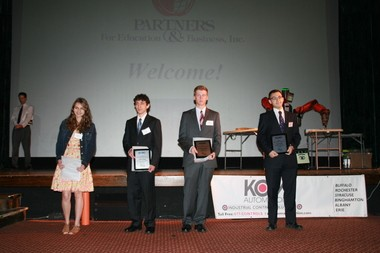 From left to right are 2013 SRC STEM Scholars Stephanie DeRosa, John Drogo, Brody Kellish and Aaron Lim