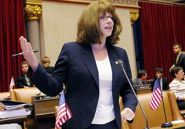 Assemblywoman Linda Rosenthal, D-Manhattan, debates on the floor of the state Assembly.