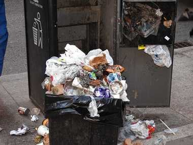 The Philadelphia controller's office shared this photo of garbage overflowing from a Big Belly trash can.