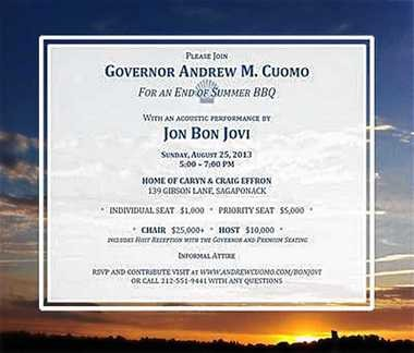 An invitation to the Aug. 25, 2013 private fundraiser for Gov. Andrew Cuomo that will feature a performance by rocker Jon Bon Jovi. Donors will have to pay at least $1,000 to attend the event at a private home in the Hamptons.