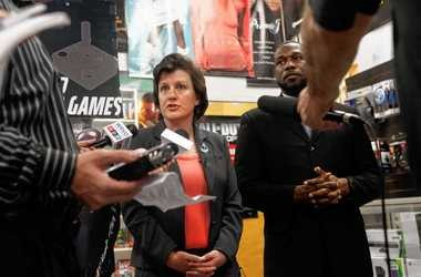 Mayor Stephanie Miner and Common Councilor Khalid Bey hold a news conference at The Sound Garden record store in Armory Square on June 7 to announce a deal to keep the store from leaving Syracuse. Miner and Bey crafted an amendment to the city's secondhand dealer law that exempts The Sound Garden and similar downtown stores.
