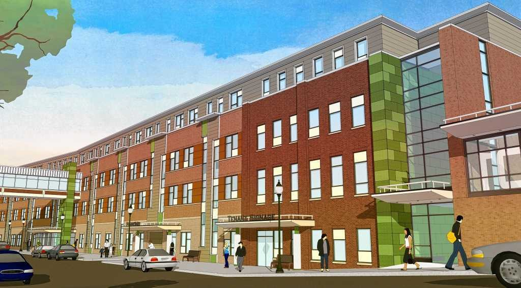 Rendering shows the planned Syracuse Creekwalk Commons college dormitory from West Water Street.
