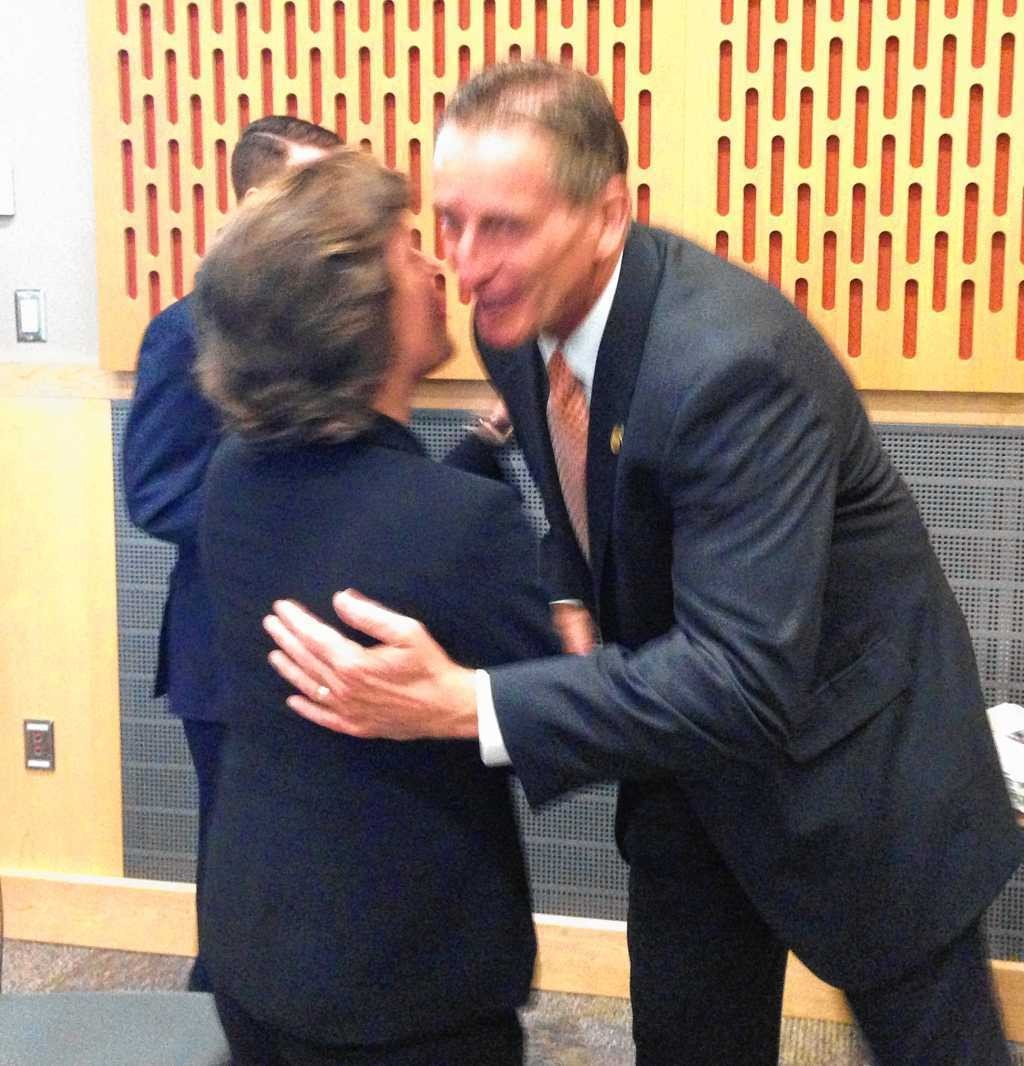 Syracuse Mayor Stephanie Miner and Lt. Gov. Robert Duffy hug during an appearance at State University College of Environmental Science and Forestry in Syracuse on Friday. Duffy said afterward he would not endorse her in her primary bid.