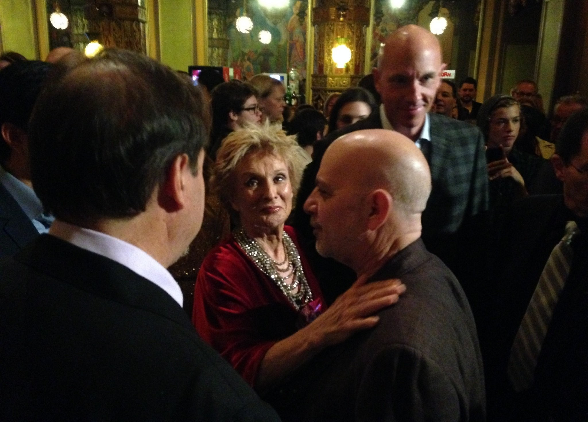 """Cloris Leachman greets Syracuse International Film Festival director Owen Shaprio at the Syracuse premiere of """"Adult World"""" at the Landmark Theatre on Sunday, Oct. 6, 2013."""