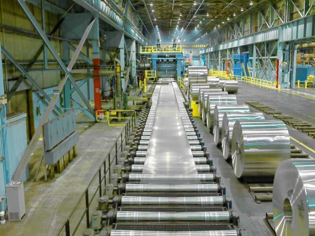 Rolls of aluminum come off the line at the Novelis factory in Oswego. Novelis recently completed a $200 million expansion that increases the company's North American capacity for producing aluminum sheet for the automotive industry by 240,000 tons.