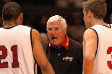Former Texas Tech coach Bobby Knight rips into a player during a game against Syracuse University in 2005.