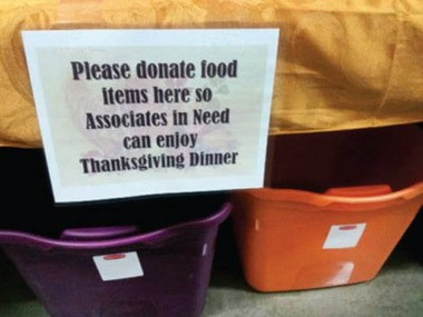 A photo of the food drive bin at a Walmart in Canton, Ohio. (Photo from OUR Walmart's Facebook Page.)