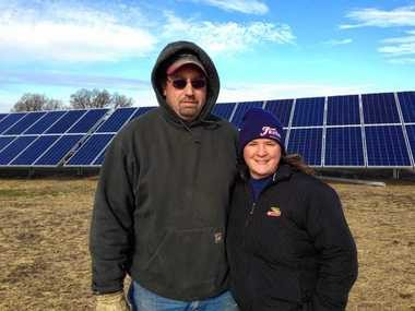 Eric and Kimberly Brayman have installed 1,000 solar panels on their Spafford farm. They expect Fesko Dairy to save about $30,000 a year in energy costs.