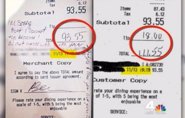 New Jersey waitress Danya Morales said a couple left no tip and a remark disparaging her lifestyle on the receipt at left. Next to it is the customer copy that the couple showed NBC 4 New York as they denied Morales version of events.