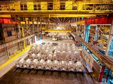 Coils of aluminum await processing at the Novelis plant in the Oswego County town of Scriba.