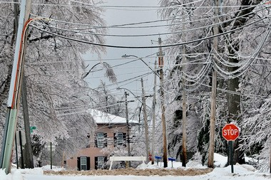 Ice covers the Lake Ontario village of Chaumont, 12 miles West of Watertown.