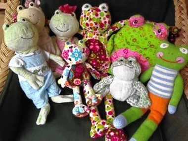Lili Winkelman, 9, loves frogs. This photo shows her collection of stuffed frog animals.