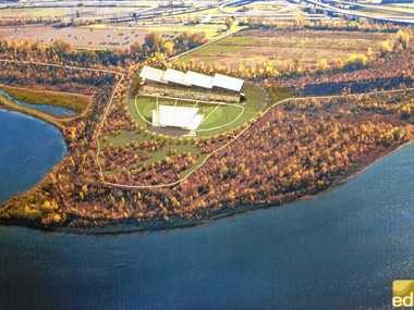 A rendering of a proposed new amphitheater at Onondaga Lake, by Environmental Design & Research, a Syracuse firm.