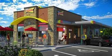 A rendering of a Sonic location with an enclosed dining room, similar to the ones the chain will open in the Syracuse area.